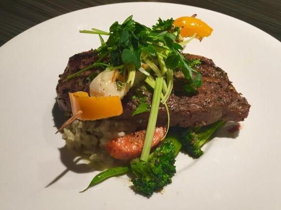 New York Steak with Scallop Skewer