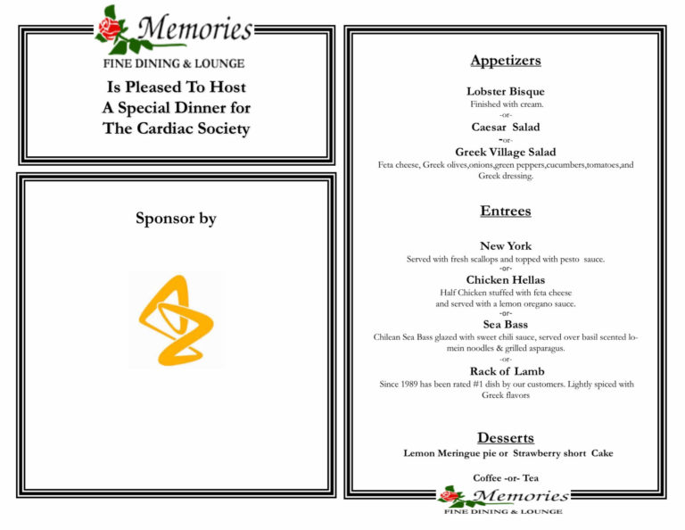 Customized catering for the Cardiac Society.