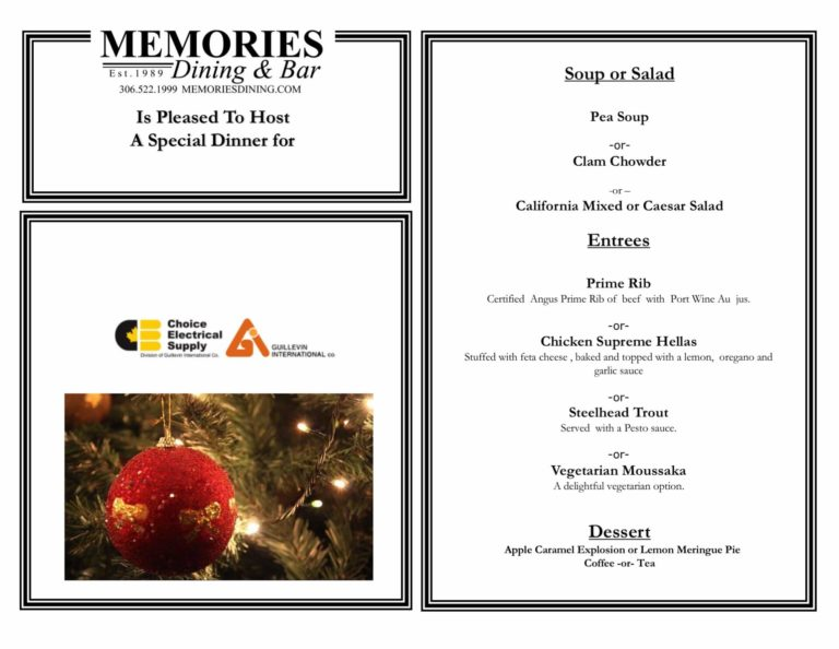 Customized catering menu for Choice Electrical's Christmas party.