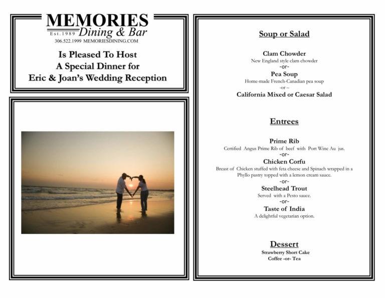 Personalized dinner menu for Eric & Joan's bid day.
