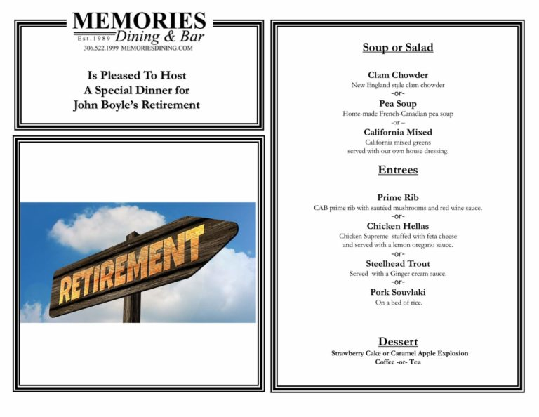 Personalized catering menu for a retirement party at FCC.