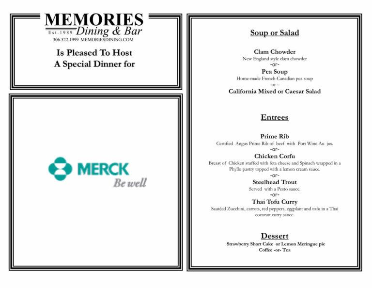 Special dinner menu for Merck.