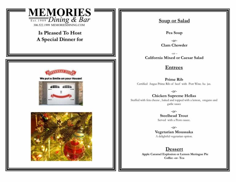 Customized menu for Overhead Door's holiday staff party.