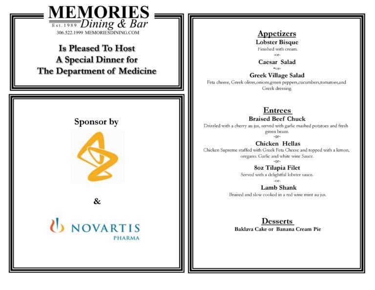 Special menu for Astra & Novartis.